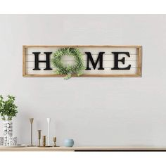 Home Plaque With Green Wreath Wall Décor