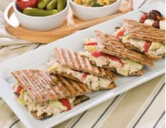 Tuna Salad & Provolone Kontos Olive Flatbread make for a fast and tasty party platter for the Big Game. 🏈 Food Inc, Provolone Cheese, Party Platters, Pita Bread, Tuna Salad, Roasted Red Peppers, Sandwiches, Tasty, Lunch