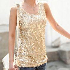 S-XXXL Women Shiny Gold/ Black Sequin Tank Top O-neck Sleeveless Slim Fit Patchwork Vest Plus Size Fashion Fitness Top for Women