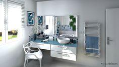 Salle de bain en bleu et blanc, clarté et fraîcheur...
