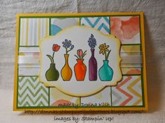 The Vivid Vases stamp from the Occasions Mini (and carrying over to the upcoming Annual Catalog - Yayy!) is one of my favorite stamps for playing with my Blendabilities.  It's a great set for practicing and getting just the look you want. Looks good with Watercolor Wonder paper.