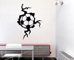 Wandtattoo uhr mit uhrwerk wanduhr design sport fu ball for Zimmer deko fussball