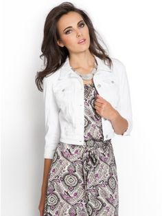 Jackets - Cropped Denim Jacket with Falling Daisy Print | Guess ...
