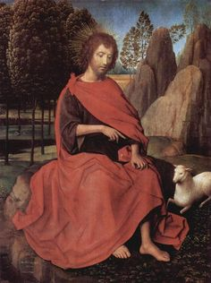Diptych Of John The Baptist And St Veronica St John The Baptist The Left Wing Wood Print by Memling Hans Renaissance Artworks, Renaissance Kunst, St Veronica, Hans Memling, Saint Jean Baptiste, Gospel Of Luke, National Gallery, Religious Paintings, Ouvrages D'art
