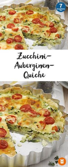 Zucchini-Auberginen-Quiche | 12 Portionen, 5 SmartPoints/Portion, Weight Watchers, fertig in 85 min.