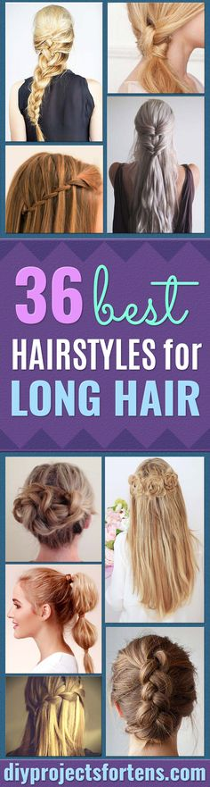 Best Hairstyles for Long Hair - Step by Step Tutorials for Easy Curls, Updo, Half Up, Braids and Lazy Girl Looks. Prom Ideas, Special Occasion Hair and Braiding Instructions for Teens, Teenagers and Adults, Women and Girls http://diyprojectsforteens.com/best-hairstyles-long-hair