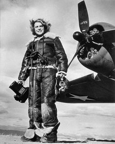collective-history: Life magazine photojournalist Margaret Bourke-White wears high-altitude flying gear in front of an Allied Flying Fortress airplane during a World War II assignment in February (AP Photo) I absolutely adore this woman.