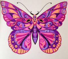 Butterfly I colored from Magical Jungle By Johanna Basford Butterfly Quilt, Butterfly Drawing, Butterfly Crafts, Butterfly Design, Bird Design, Butterfly Wings, Beautiful Flowers Wallpapers, Beautiful Butterflies, Colouring