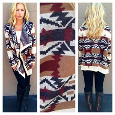 BURGUNDY & NAVY TRIBAL KNIT CARIDGAN SWEATER  $44.50  Dainty Hooligan's Favorite Fall knit! This will sell out fast...