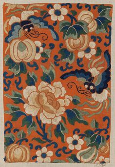 Silk end panels from a skirt embroidered with silk floss ( Chinese - late 19th century).