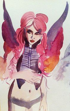 wicked fairy, watercolour from a photo in a tattoo magazine, 2012