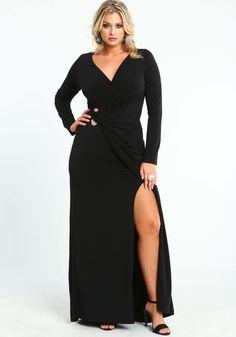 19215ec73524 Plus Size Wrap Maxi Dress, BLACK, large Curvy Girl Fashion, Plus Size  Fashion