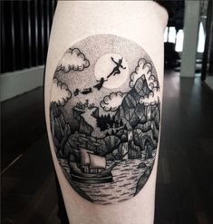 Peter Pan Dotwork http://tattooideas247.com/peter-pan/