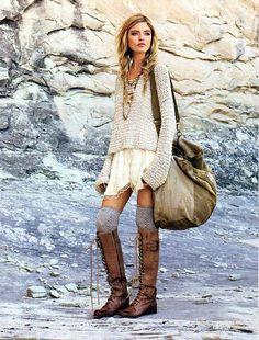 giant boho bag, boots, dress, sweater, knee high socks, love the combo!