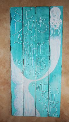 Mermaid Sign, Hand Painted, Original, Glittered, Beach  Large reclaimed wood mermaid painting, hand written, hand painted and glittered on her tail. It measures 48 inches tall by a little more than 22 inches wide. All original design on old white fence boards. Painted with white and two different blues, very beachy.  Shipping is an estimate, I REFUND OVERPAID SHIPPING