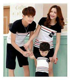 T-shirt family couple salur  Bahan agp combet Kaos + celana  Fit to L  Anak-anak umur 3-5 tahun   Harga 200k/3 pcs