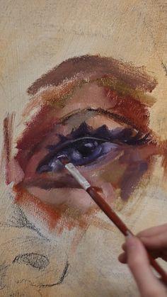 Eye Oil Painting - Janel Oil on canvas, eye painting process Source Yo Horse Oil Painting, Eye Painting, Painting Process, Oil Painting Abstract, Process Art, Oil Painting Portraits, Potrait Painting, Painting Clouds, Portrait Acrylic