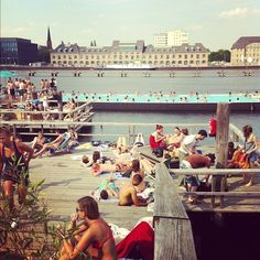 badeschiff, berlin. One of Berlin's unusual swimming pools on a bathing ship with hot pools & saunas. (beware German saunas are nude!)