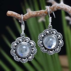 """925 SOLID STERLING SILVER RAINBOW MOONSTONE EARRING 7.76g DJER4019 L-1.25""""…"""