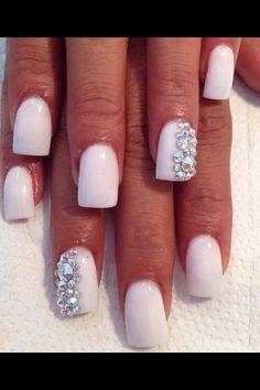 White #Bling #Nails