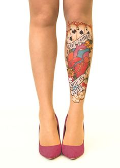 Don't Gamble With My Heart tattoo printed tights & pantyhose #tattoo #heart  #tights #pantyhose #oldschool