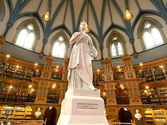 Library of Canadian Parliament, Ottawa, Canada - Built in was inspired by the British Museum Reading Room. Beautiful Library, Home Libraries, Seven Wonders, World's Most Beautiful, Beautiful Places, Library Books, Reading Room, Book Collection, Beautiful Interiors