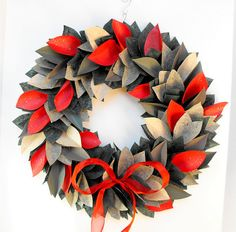CHRISTMAS HOLIDAY WREATHpaper leaf by MoonflowerNatureArt on Etsy, $68.00