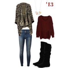 Cozy Winter Outfit, Aztec Sweater Wrap