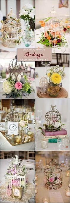Vintage birdcage wedding centerpiece ideas / http://www.deerpearlflowers.com/wedding-centerpiece-ideas/2/