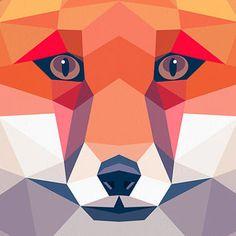 Fox portrait, Geometric print, Original art, Animal print, Minimal art, Bold wall art, Modern art