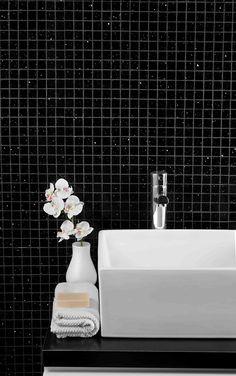Stardust Black Mosaic Tile Topps Tiles Small Bathroom Designs Bathrooms