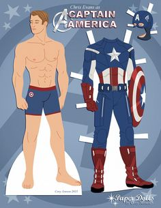 A paper doll of Chris Evans as Captain America in honor of Avengers: Age of Ultron. I might make some more of his uniforms later but for now you can dress him in his uniform from the first Avengers movie….or not! ;) Enjoy!