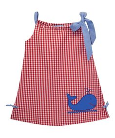 Red Whale-Appliqué Pillowcase Dress - Infant Toddler & Girls