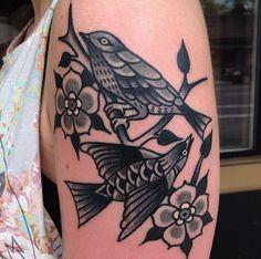 Traditional tattoo with a twist - Greyscale birds so amazing. By Eli Falconette @eli_falconette