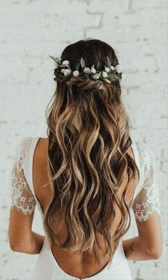 Wedding Hairstyles Half Up Half Down, Half Up Half Down Hair, Wedding Hair Down, Wedding Hair Flowers, Wedding Hairstyles For Long Hair, Wedding Hair And Makeup, Flowers In Hair, Wedding Dresses, Hairstyle Wedding