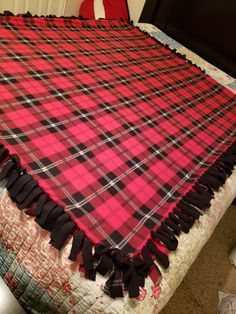 Custom fleece-tied creations made to suit your likes! Fleece Tie Blankets, Red And Black Plaid, Suits You, Plaid Scarf, Etsy Seller, Sew, Embroidery, Ideas, Needlepoint