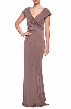 Looking for La Femme Ruched Jersey Gown ? Check out our picks for the La Femme Ruched Jersey Gown from the popular stores - all in one. Shrug For Dresses, Mob Dresses, Beige Dresses, Wedding Dresses, Bridesmaid Dresses, Formal Dresses, Bridesmaids, Fashion Dresses, Mother Of The Bride Dresses Long