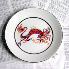 Orange Dragon Altered vintage plate by geekdetails on Etsy, $24.00