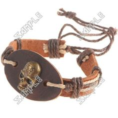 Skull Patterned Leatherette Wristlet Wrist Band Bracelet Brace Lace with Rope for Women Ladies - Color Assorted Cuff Bracelets, Skull, Band, Pattern, Leather, Color, Jewelry, Women, Sash