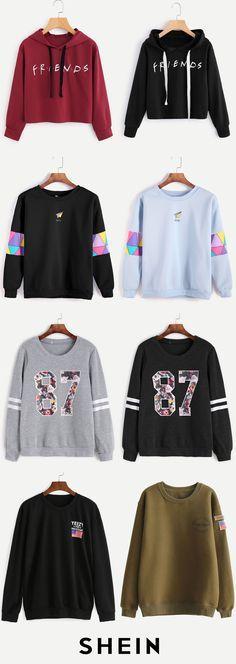 Slogan sweatshirts teen fashion outfits, outfits for teens, school outf Teen Fashion Outfits, Outfits For Teens, Winter Outfits, Summer Outfits, Casual Outfits, Cute Outfits, Womens Fashion, Cute Sweatshirts, Cute Shirts