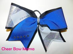 Blue and White w/ Silver Chevron Cheer Bow by Cheer Bow Mama