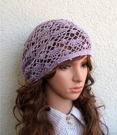 bdde11b7eda Women s Crochet Summer boho hat slouchy light lilac Summer slouchy beret hat  100% Linen tams hat Women s Summer hat Women s Slouchy Tam Hat