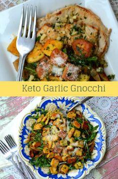 Keto Garlic Gnocchi | carb delish King Food, Melted Cheese, Garlic Butter, Gnocchi, Mozzarella, Holiday Recipes, Cravings, Delish, Keto