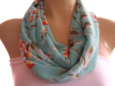 Seafoam Green..Floral..Infinity scarf..Loop scarf.. Necklace Scarf..Chiffon scarf....Instant gratification... on Etsy, $13.00