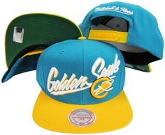 Califoria Golden Seals Diagonal Script Teal/Yellow Two Tone Plastic Snapback Adjustable Plastic Snap Back Hat / Cap by Reebok. $29.99. One Size Fits All. Adjustable plastic snapback cap. Officially Licensed.. Embroidered Logos. Cheer on your favorite team in style while wearing the officially licensed vintage snapback cap!
