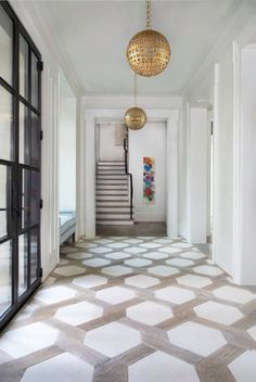Holy moly do we love this lattice floor tile pattern! Such a statement tile in t. Holy moly do we love this lattice floor tile pattern! Such a statement tile in t… Holy moly do w Entry Tile, Tiled Hallway, Modern Hallway, Entryway Flooring, Kitchen Flooring, Entryway Tile Floor, Bedroom Floor Tiles, Wood Flooring, Kitchen Cabinets