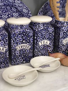 Tidy your kitchen with our Blue Calico Storage Jars.