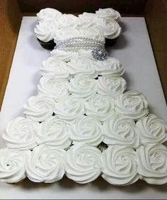 Cute idea for Shower or Bachelorette Party How to Make a Cupcake Wedding Dress Cake