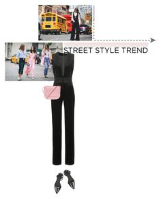 """jumpsuits: street style trend"" by vivielle-1 ❤ liked on Polyvore featuring Balmain, Mansur Gavriel and Alexander Wang"