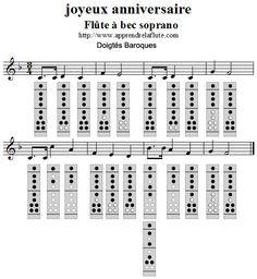 Joyeux Anniversaire flûte à bec (doigtés baroques)